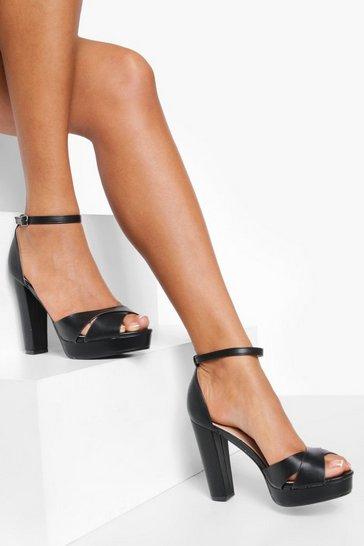 Black 2 Part Cross Over Platform Heels