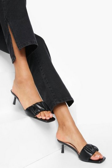Black Ruched Mules