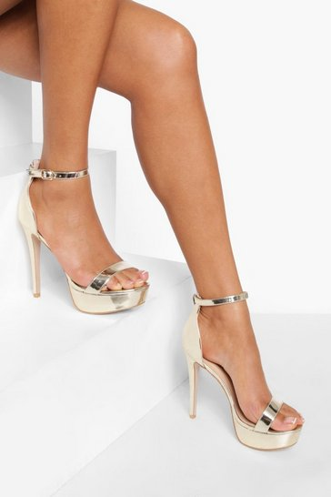 Gold metallic Metallic Platform Heels