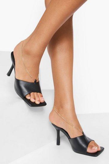 Black Chain Detail Square Toe Mules