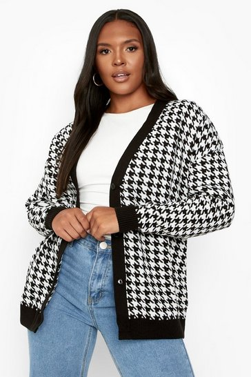 Black Plus Houndstooth Knitted Cardigan