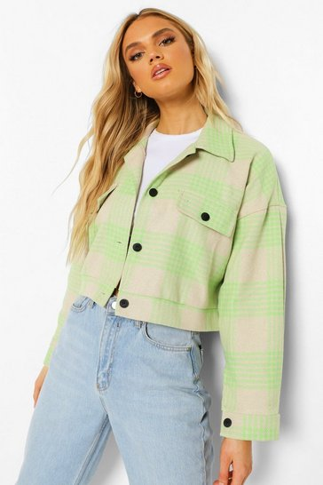 Green Check Wool Look Trucker Jacket