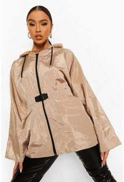 Beige Oversized Buckle Belted Windbreaker