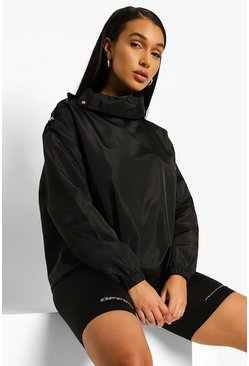 Black Funnel Neck Popper Detail Windbreaker