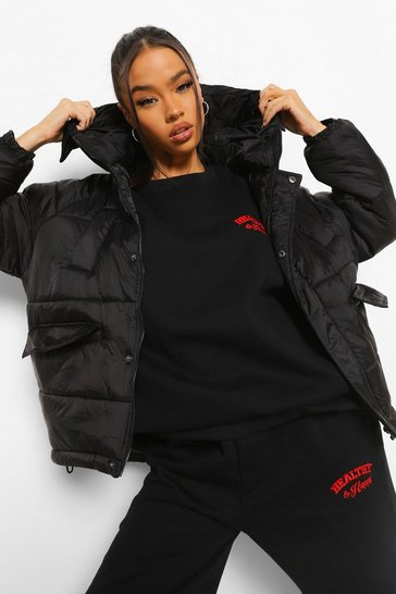 Black Oversized Hooded Puffer Jacket