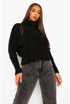 Black Oversized Roll Neck Cable Jumper