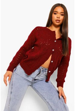 Berry red Rhinestone Button Pointelle Cardigan