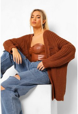 Oversized Chunky Cardigan, Rust orange