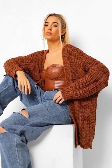 Rust orange Oversized Chunky Cardigan