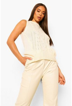 Cream white Cable Knit Tank
