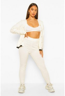 Cream white Varsity Knitted Cardigan And Legging Co-ord Set