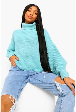 Aqua Roll Neck Chunky Balloon Sleeve Jumper