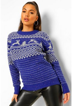 Blue Fairisle Christmas Jumper