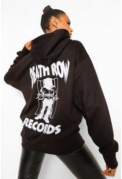 Death Row Records Print Oversized License Hoody, Black schwarz