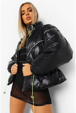 Black Neon Trim Elasticated Waist Puffer Jacket