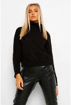 Black Turtleneck Cable Knit Crop Sweater