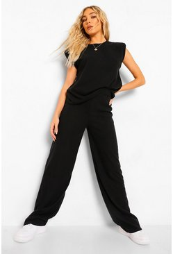 Black Brushed Knit Shoulder Pad Top Wide Leg Trouser Set