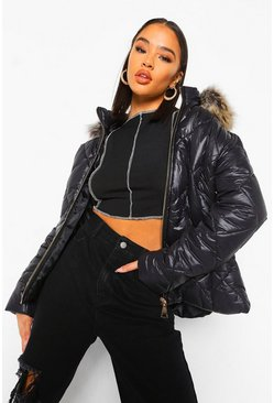 Black Quilt Detail Faux Fur Trim Puffer