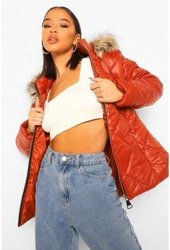 Rust orange Quilt Detail Faux Fur Trim Puffer