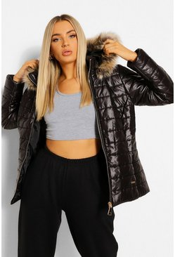 Black High Shine Faux Fur Trim Fitted Puffer Jacket
