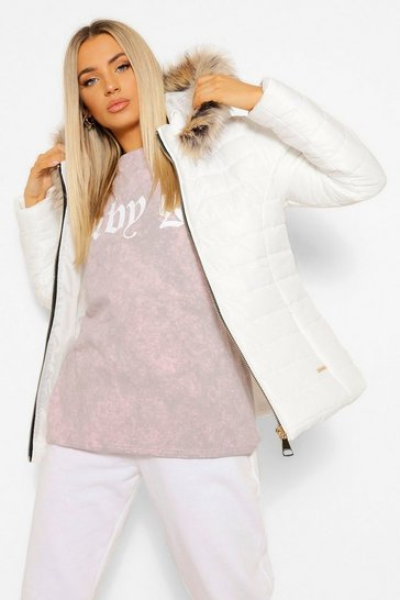 White High Shine Faux Fur Trim Fitted Puffer Jacket