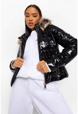 Faux Fur Trim High Shine Fitted Puffer, Black negro