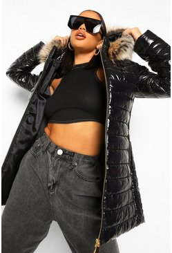 Black Longline High Shine Faux Fur Trim Parka
