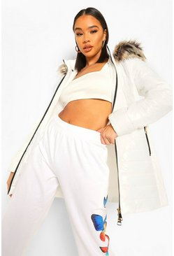 White Longline High Shine Faux Fur Trim Parka