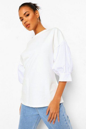 Ivory white Contrast Sleeve Sweatshirt Top
