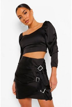 Black Satin Top And Diamante Buckle Skirt Two-Piece Set