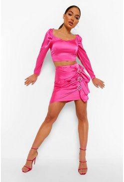 Hot pink pink Satin Top And Diamante Buckle Skirt Co-ord Set