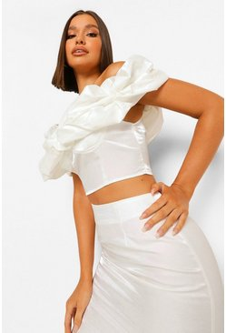 White Off The Shoulder Top And Midi Skirt Co-ord Set