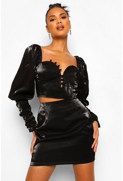 Black Volume Sleeve Two-Piece Set