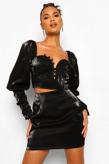Black Volume Sleeve Corset Top And Mini Skirt Co-ord Set