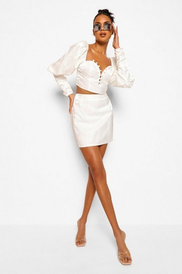 White Volume Sleeve Corset Top And Mini Skirt Co-ord Set