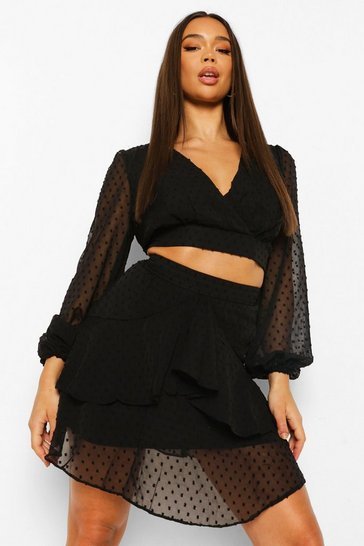 Black Dobby Mesh Top And Frill Hem Mini Skirt Co-ord