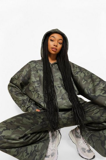 Multi Oversized Camo Slogan Zip Through Hoodie