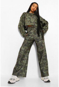 Multi Oversized Camo Slogan Wide Leg Joggers