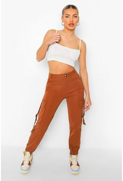 Rust orange Buckle Detail Utility Pants