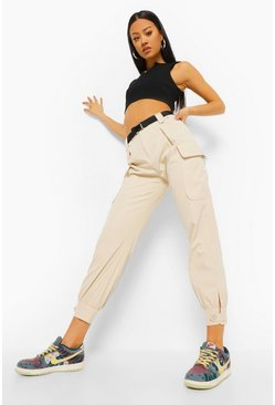 Cream white Belted Utility Trouser