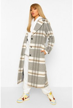 Grey Check Oversized Wool Look Coat