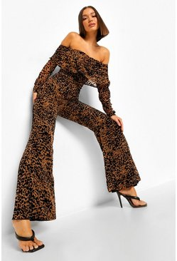 Black Animal Devore Off The Shoulder Jumpsuit