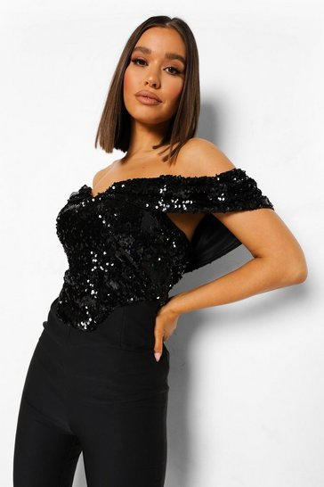 Black Sequin Off The Shoulder Jumpsuit