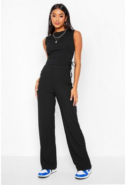 Black Rib Ruched Longline Top And Wide Leg Trouser Coord