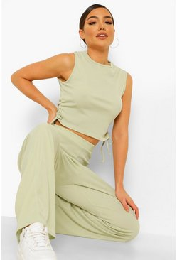 Rib Ruched Longline Top And Wide Leg Trouser Coord, Sage grün