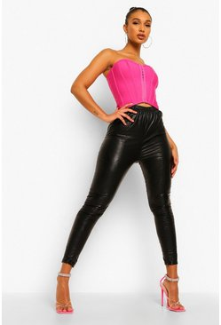 Black Leather Look Split Front Legging
