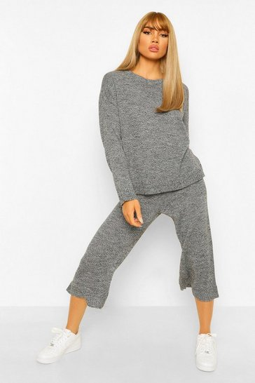 Dark grey grey Crew Neck Knitted Top And Culotte Set