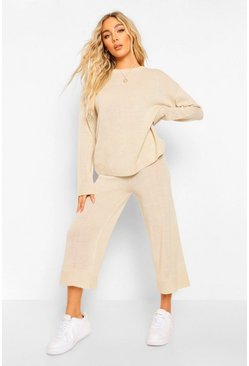 Stone Crew Neck Knitted Top And Culotte Set