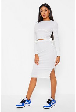Ecru white Under Bust Ruched Top And Midi Skirt Coord Set