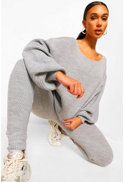Grey Purl Knitted Tracksuit